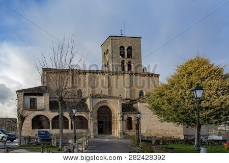 Sepulveda, Segovia, Spain; March 2018:  View Of Sanctuary Of The Virgin Of The Rock, In Village Of S