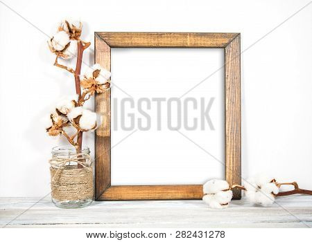 8x10 Portrait Frame, Natural Wood, Frame Mock-up, Styled Wooden Frame