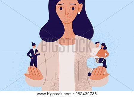 Woman Choosing Between Family Or Parent Responsibilities And Career Or Professional Success. Difficu