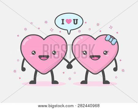 Cute And Kawaii Heart Mascot Character