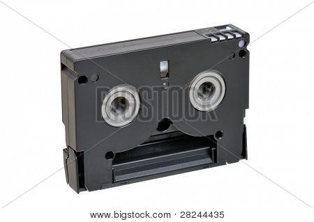 Mini DV cassette isolated on white. back side