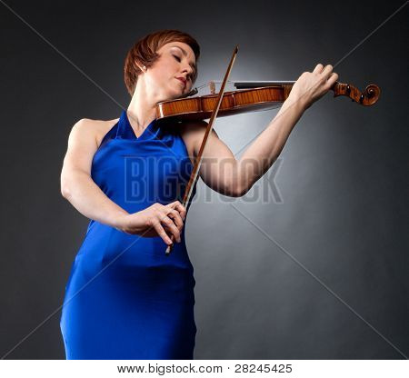 Violinist In Blue Evening Gown