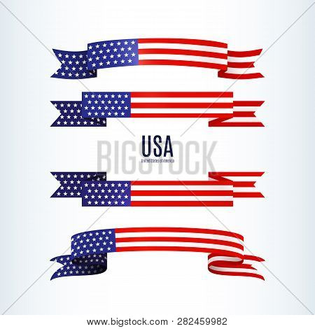 American Flag Ribbon Stars Stripes Patriotic American Theme Usa Flag Of A Wavy Ribbon Shape Icon Des