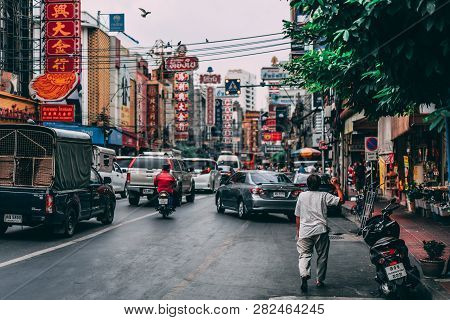 Bangkok, Thailand, 12.14.18: Life In The Streets Of Chinatown In The Capital. Hectic Rush On The Str