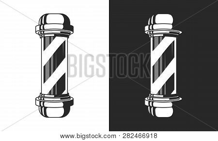Vintage Glass Barbershop Pole Isolated On White And Black Background. Barber Shop Pole Sign, Icon. V