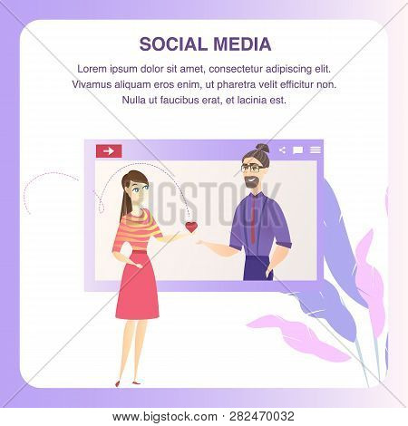 Man Woman Character Online Dating Tablet Banner. Social Media Network. Red Heart Symbol Icon. Happy
