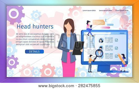 Head Hunter, Employment, Personnel Recruitment Agency Flat Vector Web Banner Or Landing Page Templat