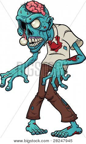 Cartoon zombie. Vector illustration with simple gradients.