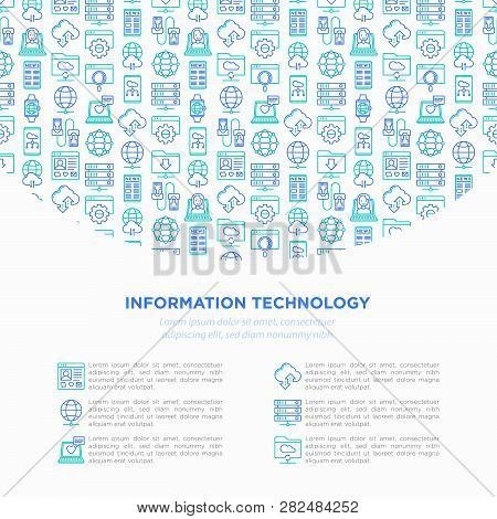 Information Technology Concept With Thin Line Icons: Social Network, System Backup, Search, Lan Netw