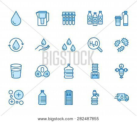 Water drop flat line icons set. Aqua filter, softener, ionization, disinfection, glass vector illustrations. Thin signs for bottle delivery. Pixel perfect 64x64. Editable Strokes poster