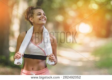 Portrait Young Attractive Smiling Fit Woman With White Towel Resting After Workout Sport Exercises O