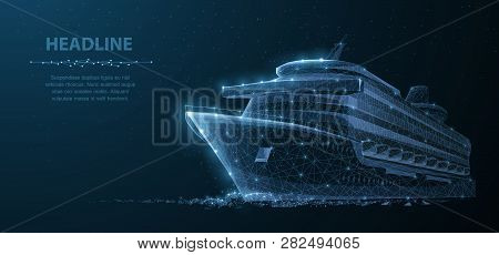 Ship. Abstract Vector Luxury Ruise Liner Ship On Dark Blue Night Sky Background With Dots, Stars.