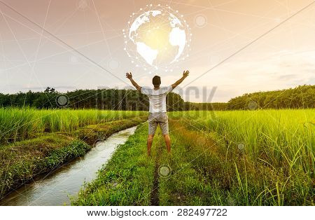 Networking People And Connection Concept, Man With Earth Circle In Countryside, Countryside Connect