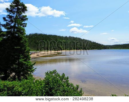 The Pristine Clear Waters Of Sandy Pond In Terra Nova National Park, Newfoundland And Labrador, Cana