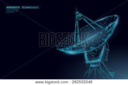 Polygonal Radar Antenna Space Defence Abstract Technology Concept. Scanning Detect Military Danger M