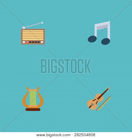 Set Of Melody Icons Flat Style Symbols With Retro Tuner, Musical Note, Harp And Other Icons For Your