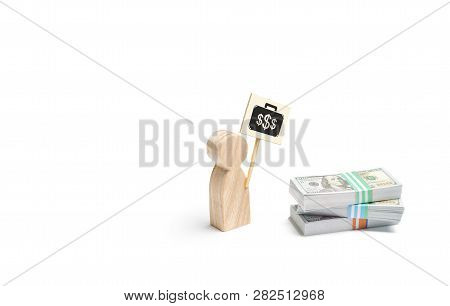 A Man Figurine With A Poster Agitates Near A Pile Of Money. The Concept Of Finding A Better Paid Job