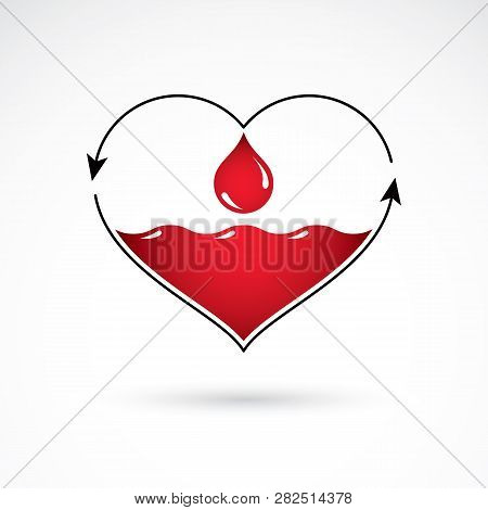 Vector red heart with blood circulation inscription with direction arrows. Blood transfusion metaphor, medical care emblem for use in pharmacy. poster