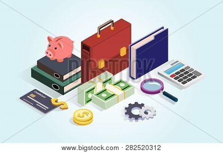 Business Portfolio, Money, Credit Card, Piggy. Financial Statistics, Money Saving, Analysis, Managem
