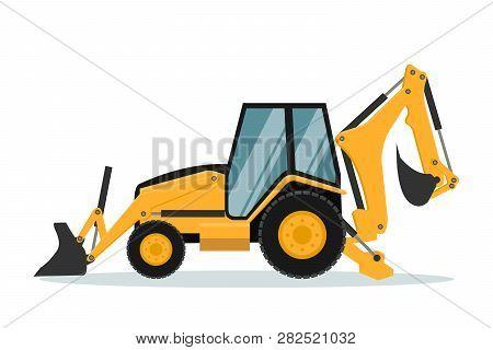 Vector Design Of Backhoe. Heavy Machinery, Vector Design Of Heavy Machinery Used In The Mining Indus