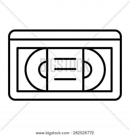 Videotape Thin Line Icon. Vhs Tape Vector Illustration Isolated On White. Retro Video Cassette Outli