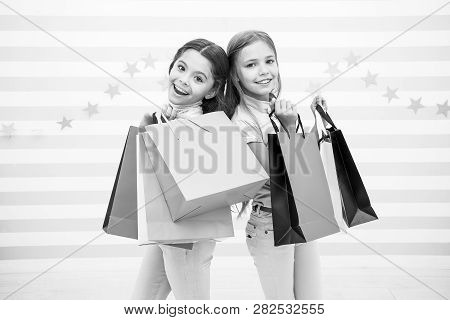 Kids Happy Carry Bunch Packages. Shopping With Best Friend Concept. Girls Like Shopping. Kids Happy