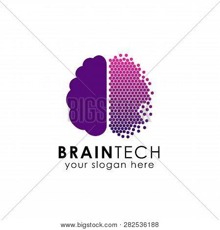 Digital Brain Logo Design In Pixel Style. Brain Tech Vector Icon