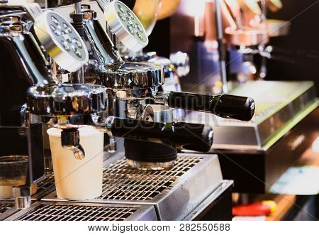 Espresso Shot From Coffee Machine In Coffee Shop,coffee Maker In Coffee Shop