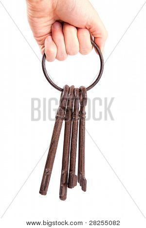 Cast iron keys on a ring, held in a hand.