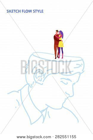 Open Human Head Couple In Love Man Woman Lovers Embracing Romantic Dating Creative Idea Inspiration