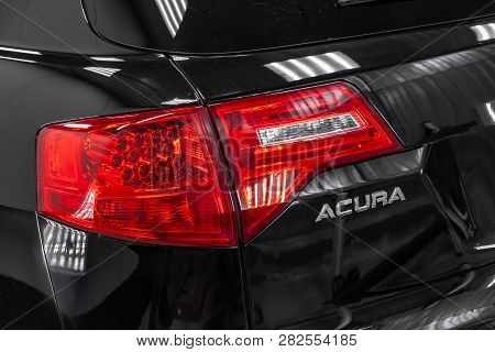 Novosibirsk, Russia - 08.01.2018: Rear View Of Used Acura Mdx 2008 Year Black Color With Red Taillam