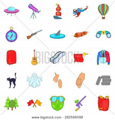 Mysterious Things Icons Set. Cartoon Set Of 25 Mysterious Things Icons For Web Isolated On White Bac