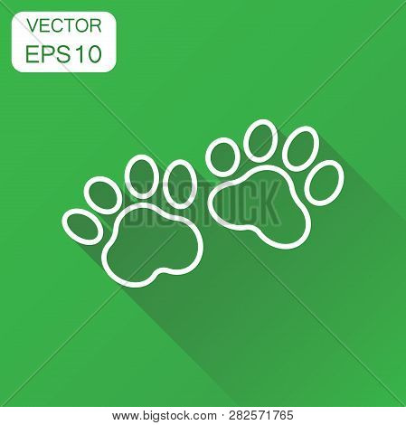 Paw Print Icon. Business Concept Dog Or Cat Pawprint Pictogram. Vector Illustration On Green Backgro