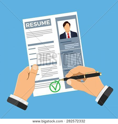 Employment, Recruitment And Hiring Concept. Job Agency Human Resources. Hands With Job Seeker Resume