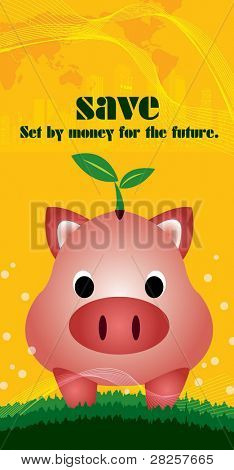 Advertisement for Saving money with a Cute Piggybank