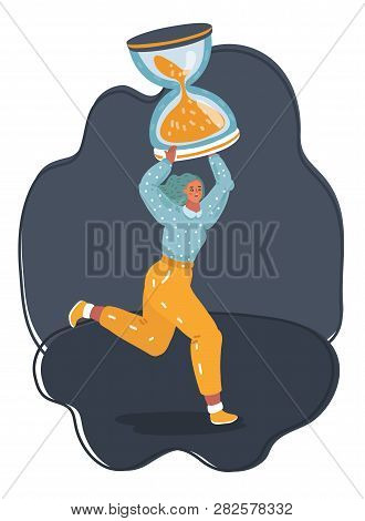 Vector Cartoon Illustration Of Tired Tiny Woman Working Overtime Due Deadline - Run With Big Hourgla