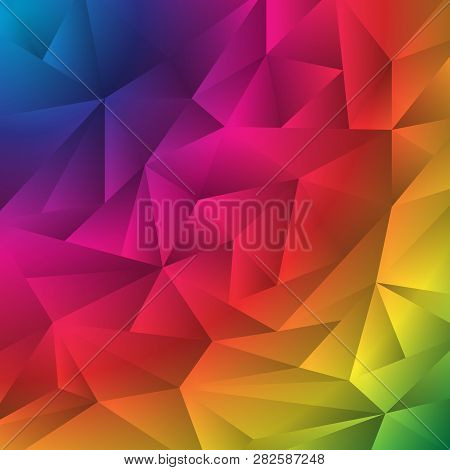 Abstract Multicolor Geometric Rumpled Triangles Origami Style Background. Low Polygon Rainbow Design