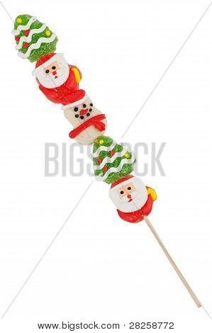 Sugar Colorful Candy With A Wooden Stick