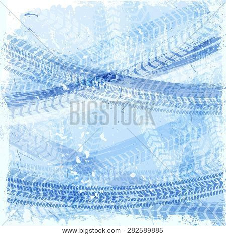 Ice Tire Treads. Car Wheel. Vector Automotive Element. Grunge Tyre Tracks Background For Poster, Dig