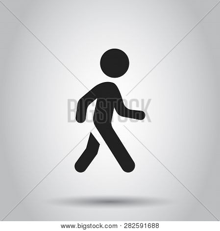 Walking Man Vector Icon. People Walk Sign Illustration. Business Concept Simple Flat Pictogram On Is