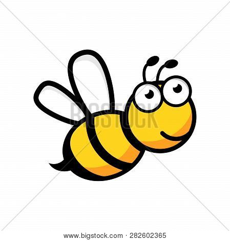 Cartoon Bee Logo Icon In Flat Style. Wasp Insect Illustration On White Isolated Background. Bee Busi