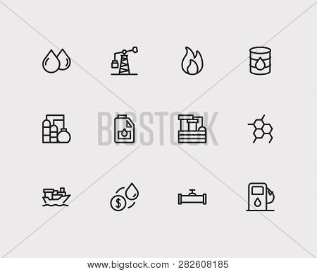 Petrol Icons Set. Chemical Reaction And Petrol Icons With Oil Market, Oil Barrel And Tanker Ship. Se