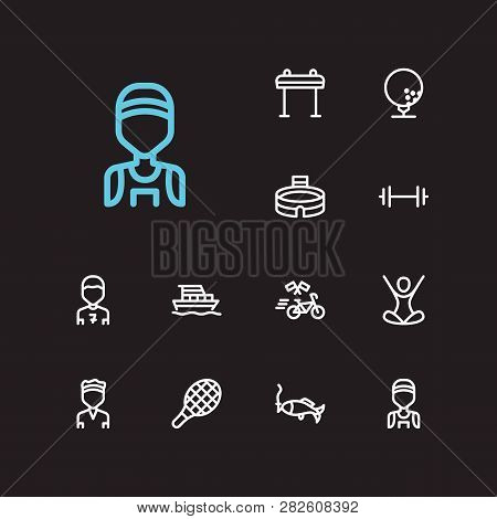 Lifestyle Icons Set. Marathon Runner And Lifestyle Icons With Bicycle Race, Tennis And Yacht. Set Of