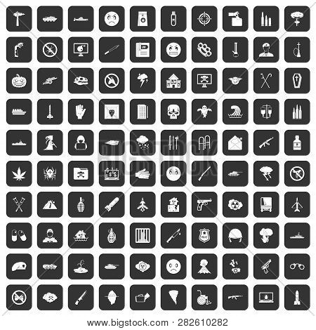 100 oppression icons set in black color isolated illustration poster