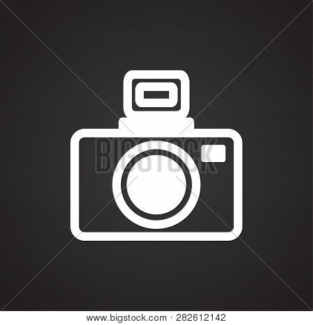 Dslr Icon On Black Background For Graphic And Web Design, Modern Simple Vector Sign. Internet Concep