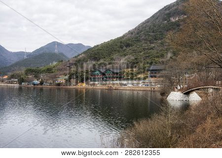 Geumpyeong Reservoir Temples And Surrounding Trail And Nature. Geumpyeong Reservoir Is Located In Gi