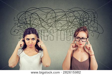 Two Angry Displeased With Each Other Women Ignoring Not Listening Each Other Exchanging With Many Ne