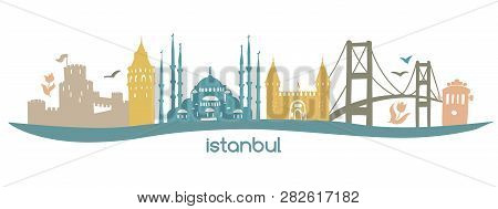 Modern Flat Horizontal Vector Illustration Istanbul With Silhouette Of Famous Turkish Symbols: Tower