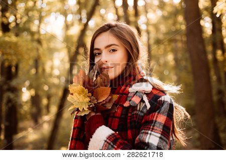 Cute Girl In Good Mood Posing In Autumn Day. Autumnal Mood. Free Autumn Time. Cheerful Beautiful Gir