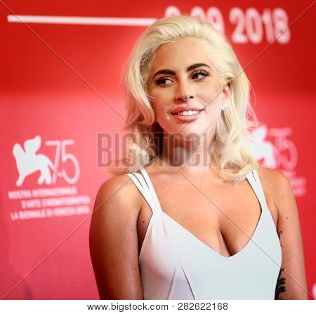 Lady Gaga attends 'A Star Is Born' photocall during the 75th Venice Film Festival at Sala Casino on August 31, 2018 in Venice, Italy.